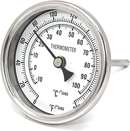 "Weldless Homebrew 2/"" Short Stem Brewing 3/"" Dial Thermometer Stainless Steel"