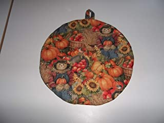 Pot Holders Heat Resistant Fall Thanksgiving Scarecrow Sunflowers Pumpkins Handmade Double Insulated Quilted Hot Pads Trivets 9 Inches Round