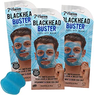 7th Heaven Blackhead Buster Peel-Off Mask Men's Deep Pore with Dead Sea Salt Detoxifying Mask Assists to Clear Sebum Unclo...