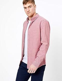 Marks & Spencer Men's Gingham Stretch Shirt, Pink Mix