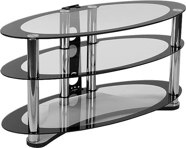 闪光家具 Westchester 双色玻璃电视架,带搁板和镀铬管道