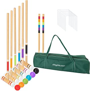 Lawn Croquet Set for Kids & Families - Six Player Croquet Game with 6 Mallets, 6 Balls, 9 Wickets, 2 Stakes & Carry Bag