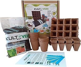 KULTIVERI Set de Cultivo de Lechugas y Tomates de 35 Piezas: Macetas y Semilleros de Germinación Biodegradables. CREA tu H...
