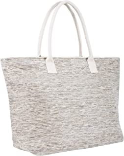 LITTLE TREE-AU Ladies Sparkle Beach Shoulder Bag Woven Paper Straw Shopping Tote Holiday (Grey)