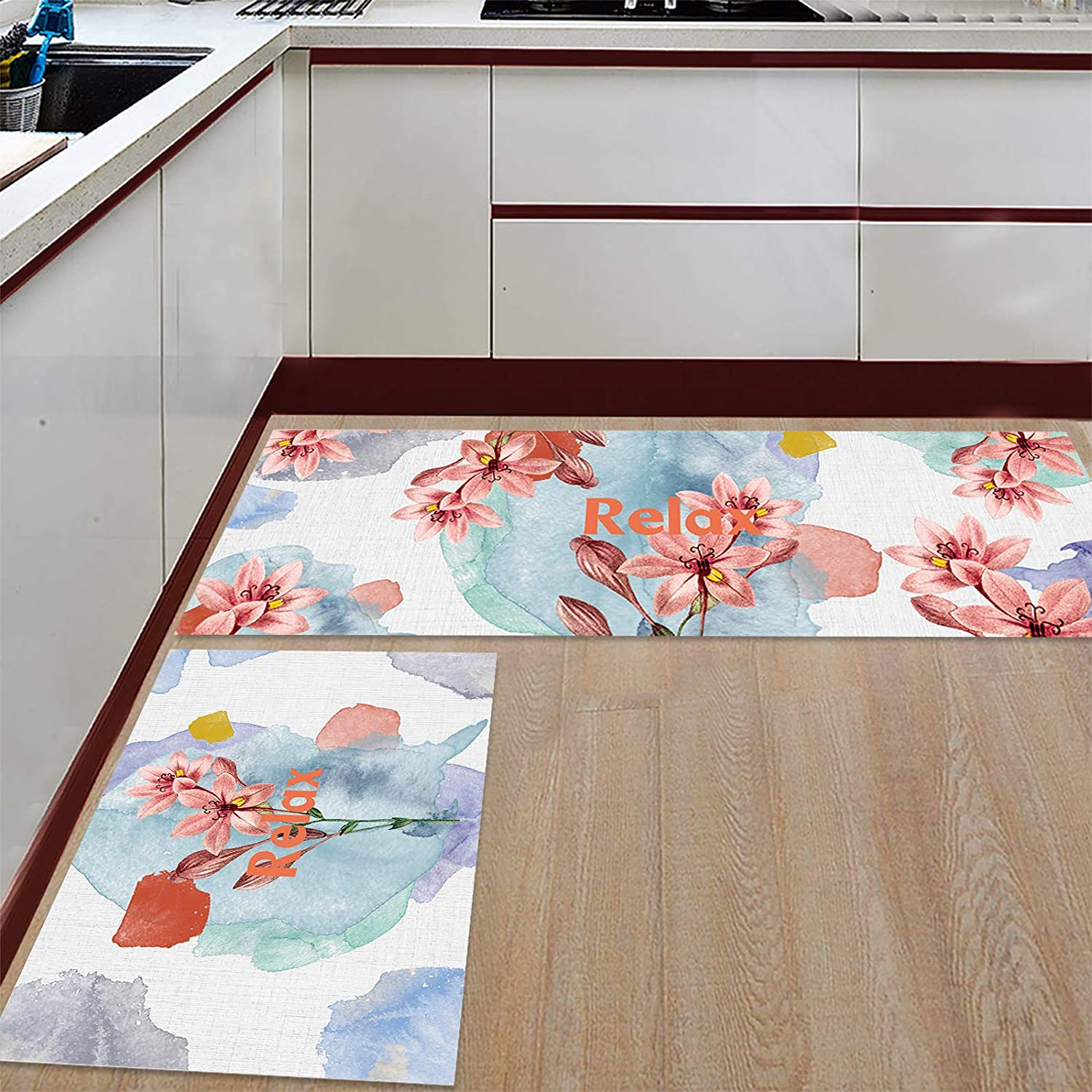 Flowers Kitchen Rugs Sales for sale Set Max 70% OFF 2 Pieces Mats Fl Standing Comfortable