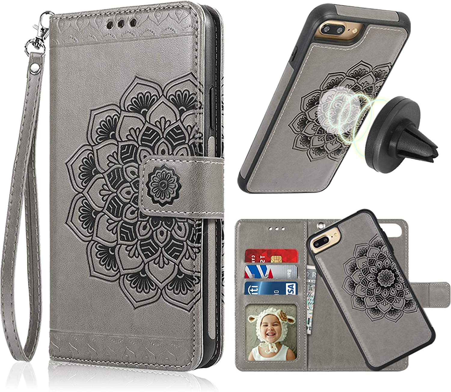 CASEOWL iPhone 8 Plus Wallet Case, iPhone 8 Plus Case Magnetic Detachable Premium Mandala Flower Embossed Leather Lanyard Wallet with Card Slots Holder, Hand Strap, Compatible with Car Mount [Gray]