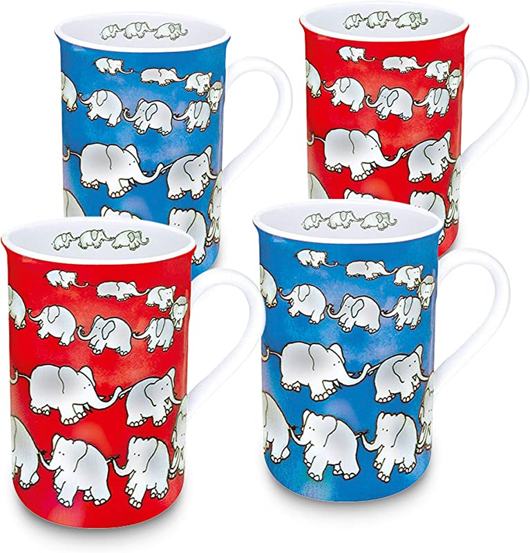 Konitz 4410031718 Assorted Chain Of Elephants Mugs Set Of 4 Red Blue