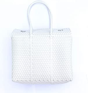 White Handwoven Mexican Basket Bag, Size Small (petite)