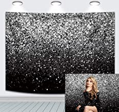 Durable Fabric Photography Backdrop Black Silver Selfie Birthday Party Theme Photo Background Prom Dance Decor Wedding Vin...