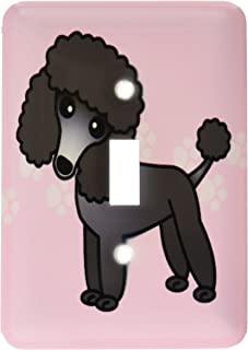 3dRose lsp_13764_1 Cute Black Poodle Pink Paw Print Background Single Toggle Switch