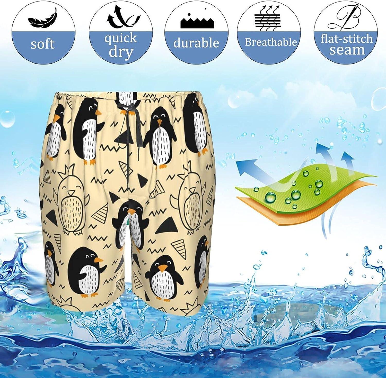 JINJUELS Mens Bathing Suits Penguins Cartoon Beach Board Shorts Drawstring Elastic Beach Swim Trunk with Liner