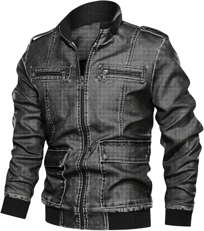 Jackets for Men Men's Solid Bomber Color Motorcycle Jacket Stand Collar Thick Leather Jacket Men Fashion Jean Jacket Men