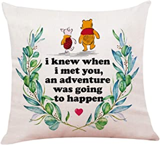 """chillake Classic Winnie The Pooh Quotes Pillow Covers - Pooh Pillow Case Cushion Cover for Sofa Couch Decor - Funny Best Friend Friendship Quote Gift (18""""x 18""""Inch)"""