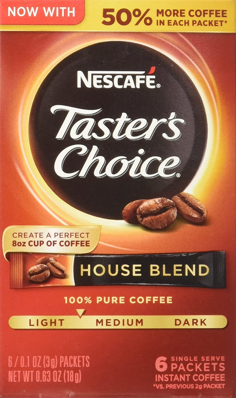 Nescafe Taster's Choice 6 Piece House Blend Instant Coffee Single Serve Sticks, 0.63 oz