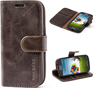 Mulbess Galaxy S4 Mini Protective Cover, Magnetic Closure RFID Blocking Luxury Flip Folio Leather Wallet Phone Case with Card Slots and Kickstand for Samsung Galaxy S4 Mini, Coffee Brown