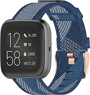 TERSELY Replacement Band Strap for Fitbit Versa/Versa 2/Versa Lite, Breathable Woven Fabric Sport Bands Straps Adjustable ...