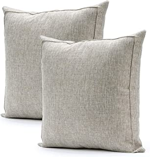 Jepeak Burlap Linen Throw Pillow Covers Cushion Cases, Pack of 2 Farmhouse Modern Decorative Solid Square Thickened Pillow Cases for Sofa Couch (Beige with Khaki Threads, 22 x 22 inches)