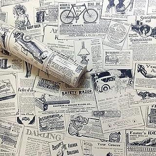 "Lependor 17.71"" X 118"" intage Newspaper Self Adhesive Paper Peel & Stick Wallpaper for Bedroom Livingroom Decor - 17.71"" X..."