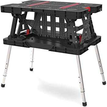 Keter Folding Compact Adjustable Workbench Sawhorse Work Table with Clamps 700 lb Capacity