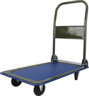 Olympia Tools 85-180 300LB Folding Rolling Flatbed Cart Hand Platform Truck Push Dolly for Loading, Olive Green with Blue ...