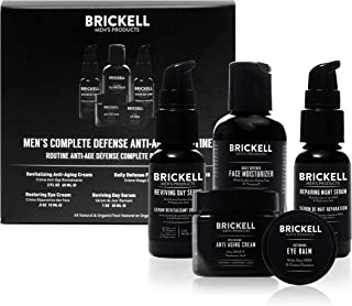 Brickell Men's Complete Defense Anti Aging Routine, Night Face Cream, Vitamin C Day and Night Serum, Facial Moisturizer w/SPF and Eye Cream, Natural and Organic, Unscented