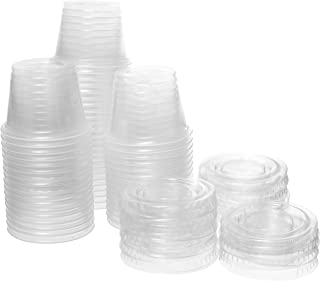 Crystalware, Disposable 1 oz. Plastic Portion Cups with Lids, Condiment Cup, Jello Shot, Soufflé Portion, Sampling Cup, 100 Sets – Clear
