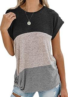 Yidarton Damen Kurzarm T-Shirt Casual Patchwork Sommer Lose Shirt Asymmetrisch Oversize Oberteile