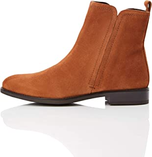 Amazon Brand - find. Women's Flat Leather Pull On Ankle Boot Brown Deep Tan), US 9.5