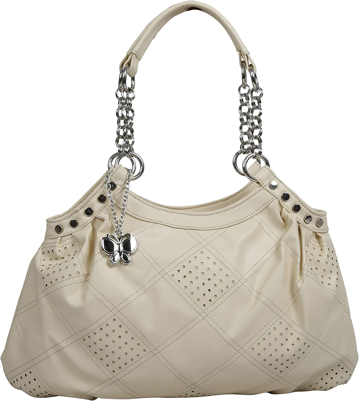 Butterflies Women's Handbag 11H x 19L x 3.5W Beige