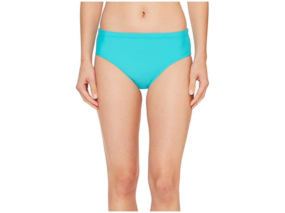 Athena Cabana Solids Landa Mid Waist Bikini Bottom (Lagoon) Women