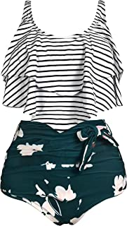 Gabrielle-Aug Women's Retro Two Pieces Bathing Suits Falbala Soild Floral Flounce Bikini Top Chic Swimsuit Tankini Set