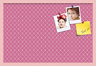 ArtToFrames 30x20 Custom Cork Bulletin Board. This Chain Pattern in Pink Pin Board Has a Fabric Style Canvas Finish, Framed in Baby Pink on Beech (PinPix-578-30x20_0066-81792-YPNK)