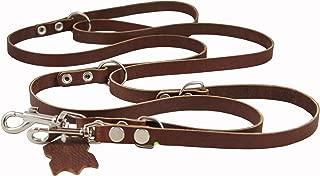 Multifunctional Leather Dog Leash, Adjustable Schutzhund 6 Way European Lead Brown 49