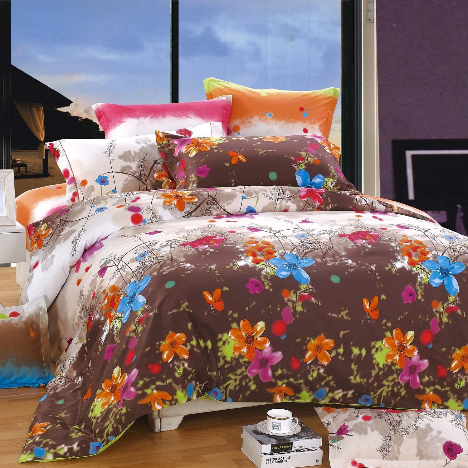 NORTH HOME Blossom 100-Percent Cotton 4-Piece Cover lowest price Set Bombing free shipping Duvet Q