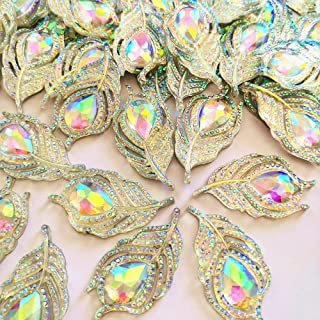 20x38mm AB Color Rhinestones Patterned Roses Flower Planar Strain Crystal Buttons Stone Crafts 30pcs Used in Garment and Shoe Crafts (AB)