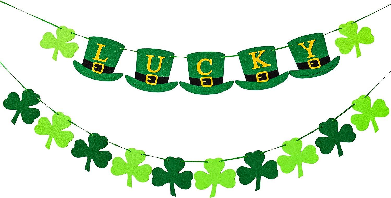 ZHENYI Felt Shamrock Clover Garland Banner - St Patricks Day Banner Decor - Saint Patricks Day for The Home Wreaths Decorations - Irish Pattys Ornaments Leprechaun hat