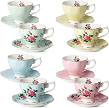 BTaT- Floral Tea Cups and Saucers, Set of 8 (8 oz) Multi-color with Gold Trim and Gift Box, Coffee Cups, Floral Tea Cup Se...