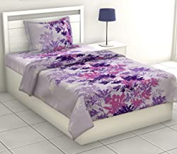 haus & kinder Fantasy Single Bedsheet Collection, 186 TC, 100% Cotton Single Bedsheet with 1 Pillow Cover, Single (Purple Blue)