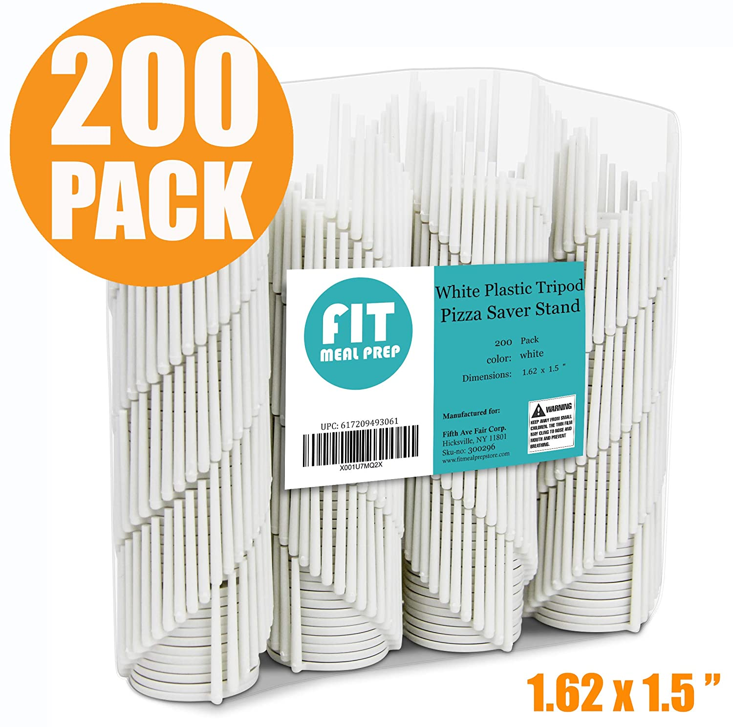 Pizza Lid Saver White Plastic Tripod Disposable 200 Pack Great for Restaurant