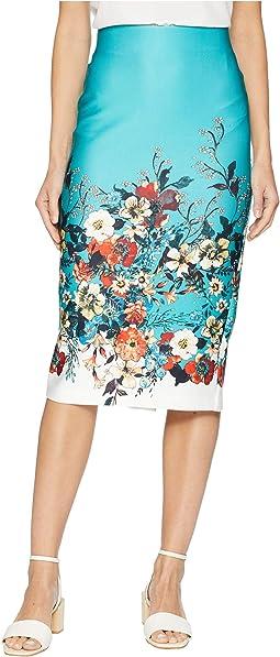 Printed Floral Midi Scuba Skirt