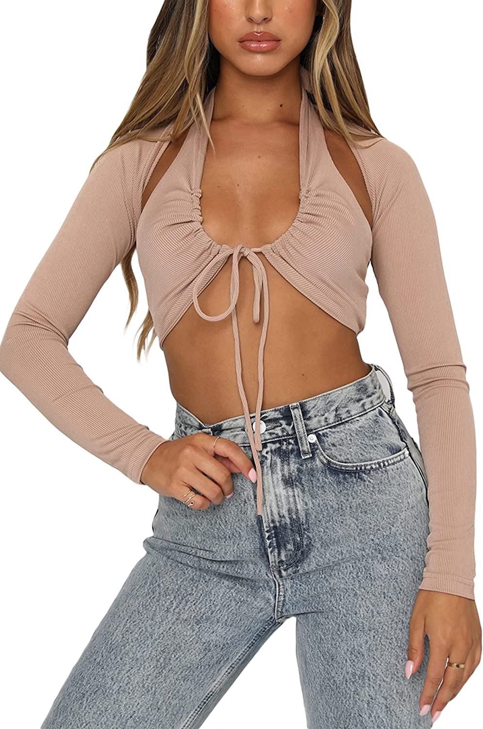 Women Y2K Fashion Top Halter Vest Long Sleeve Hollow Cami Top Two Piece Set E-Girl Streetwear Clothes