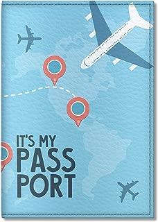 Cute Vegan Eco Leather Passport Cover for Women, Men, Kids (Airplane)