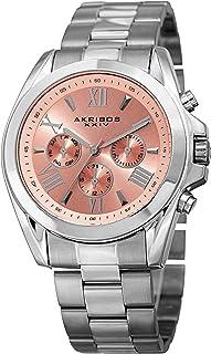 Akribos XXIV Women's Fashion Quartz Watch - Sunburst Dial - Featuring a Stainless Steel Bracelet - [ AKN951 ]