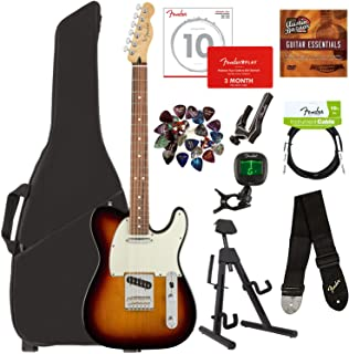 Fender Player Telecaster, Pau Ferro - 3-Color Sunburst Bundle with Gig Bag, Stand, Cable, Tuner, Strap, Strings, Picks, Capo, Fender Play Online Lessons, and Austin Bazaar Instructional DVD