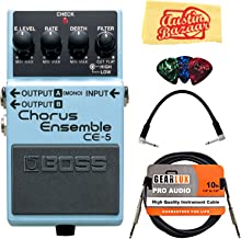 Boss CE-5 Chorus Ensemble Bundle with Instrument Cable, Patch Cable, Picks, and Austin Bazaar Polishing Cloth