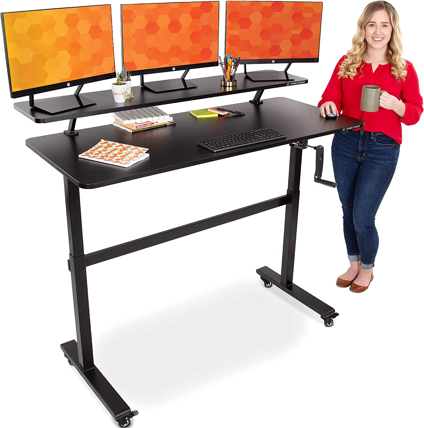 Stand Steady Tranzendesk   55 Inch Standing Desk with Clamp On Shelf & Wheels   Front Crank Manual Height Adjustable Sit to Stand Desk   Attachable Monitor Riser Supports 3 Monitors (55 / Black)