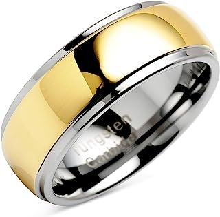 100S مجوهرات منقوشة شخصية خواتم التنجستن للرجال النساء الزفاف الفرقة درجتين من اللون الذهبي مرآة الانتهاء أحجام 6-16
