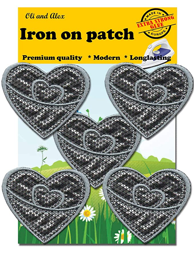 Iron On Patches - Extra Strong Glue Silver Heart Patch 5 pcs Iron On Patch Embroidered Applique A-202