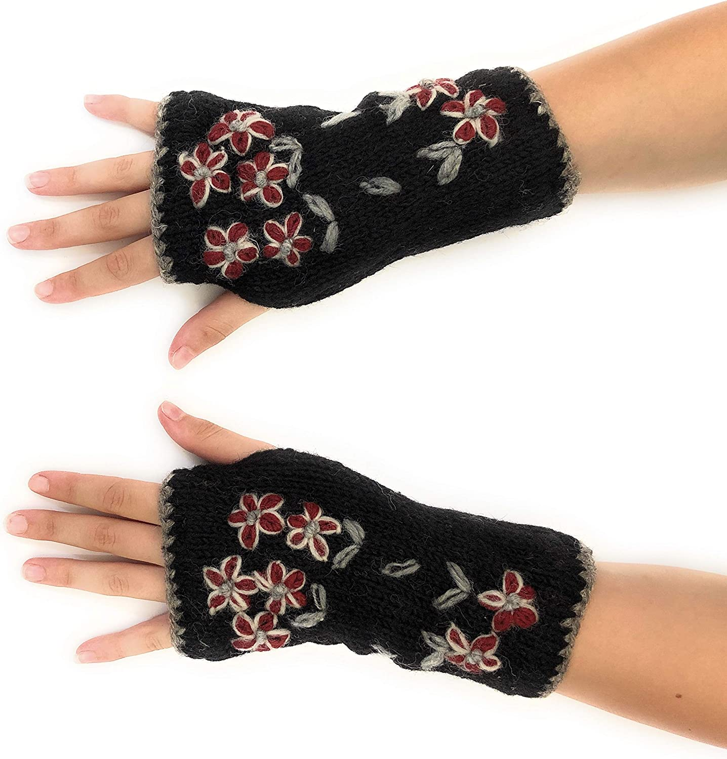 Women Embroidery Winter Half Hand Fingerless Stretchy Gloves Mittens Yellow