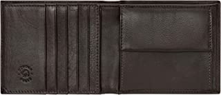 Nuvola Pelle Mens Trifold Leather Wallet in Soft Nappa with Coin Pocket Credit Card Slots ID Window Dark Brown